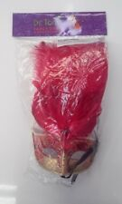 Red & Gold Masquerade Mask With Feathers - Sienna Pk 1