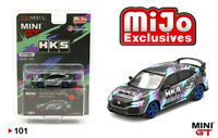 MINI GT 1/64 MiJo GREY HONDA CIVIC TYPE R HKS TIME ATTACK DIECAST CAR MGT00101