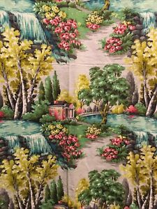 Vintage Cotton Barkcloth Panel Superb Color State House Garden Water