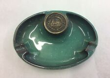 """Roseville Pottery """"The Hyde Park"""" No. 1950 Monogram Green Speckled Oval Ashtray"""