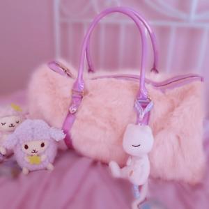 DDLGWorld Pastel Princess Pink Faux Fur Weekender Bag