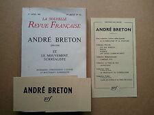 """"""" André BRETON et le Mouvement Surréaliste """" Hommages dans la N.R.F. 1967"""