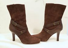 NWOB LADIES' COLE HAAN CHOCOLATE BROWN SUEDE ANKLE BOOTS - Size 9B