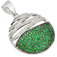 Russian Nano Emeralds & White Topaz 925 Sterling Silver Pendant - Free Postage