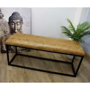 Modern Handmade Genuine Leather & Iron Tan Brown & Black Artisan Home Bench