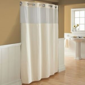 Hookless Waffle 71-Inch X 86-Inch Fabric Shower Curtain in Cream
