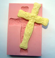 SILICONE BAPTISM HOLLY BABY COMMUNION CROSS MOULD CHRISTENING ICING CUPCAKE CAKE