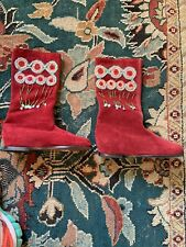 JIGSAW CRANBERRY SUEDE BOOTS DECORATED FOLK BOHO APPLIQUE BEADS 36 NEW