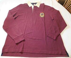 Daniel Cremieux Men's Long Sleeve Polo Shirt Size L large Wine-74C upc4528 NWT