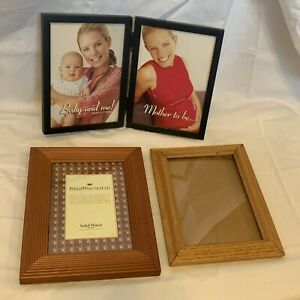 3 Wooden Photo Picture Frames with Glass Inserts 5x7 - Lot of 3