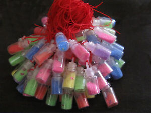 BULK 5 Mix Colour Glass FAIRY DUST WISHING Bottle/Vials With hanging String