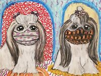 Quarantine Shih Tzu Collectible 8x10 Vintage Style Art Print Signed Artist KSams