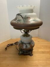 """Vtg Accurate Casting Co Hurricane Lamp Brass19""""tall pine branch & cones brown"""