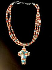 Jasper, Coral, & Turquoise Necklace With Cross Pendant #779