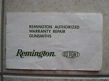 Remington Authorized Warranty Repair Gunsmiths Manual Booklet Paperwork Vintage