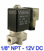 "1/8"" Inch Stainless Steel Air Water Solenoid Valve Normally Closed 12V DC Viton"