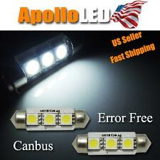 2pcs White No Error 3-SMD LED Bulbs 36mm 6411 Festoon License Plate Lights #E6
