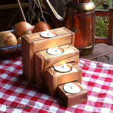 4 Piece Set Candle Stand Candlestick Tealight Holder Olive Wood Wood Advent