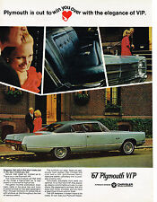Vintage 1967 Magazine Ad Plymouth VIP Elegance Way It Looks & Makes You Feel