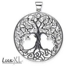 Echt LuxXL Lebensbaum Anhänger 925er Silber Schwarz Rhodiniert - Neu