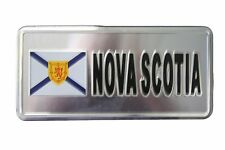 NOVA SCOTIA FLAG-SILVER LICENSED STICKER FLAG PLATE..SIZE: 6 X 3 INCH
