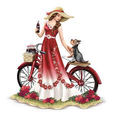 Refreshing Promenade Coca Cola Lady with Bike and Yorkie Dog Figurine Coke
