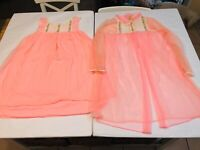 Vintage Lingerie Nightgown Paramount Size Medium 2 Piece Pink Coral Lace Nightie