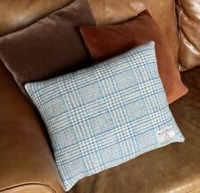 2 Harris Tweed Cushion covers Light Grey Slate Teal Blue Check Velvet Rectangle