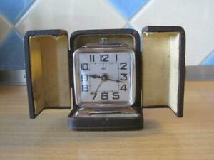 C1920/30's ART DECO SMALL DEP ALARM CLOCK with CASE in WORKING ORDER