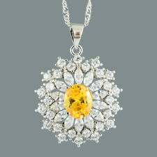 Oval Yellow Citrine 18K White Gold Plated Slide Pendant Necklace Curb Chain