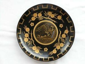 Beautiful antique Japanese lacquer plate Meiji era 1868-1912 handpainted #4246