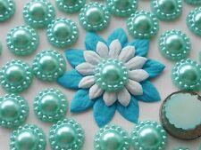 "100! Pale Turquoise Blue Pearl Flower Flatback Embellishments - 12mm/0.4"" Pearls"