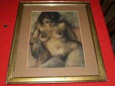 fusain encadré:femme nue/Simon Auguste