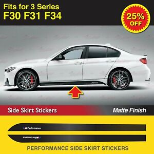 For BMW F30 F31 F34 320 335 M Performance Side Skirt Stripe MATTE Decal Stickers