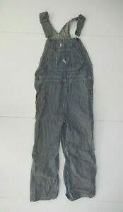 DICKIES Blue Striped Cotton TRAIN CONDUCTOR DENIM OVERALLS Work Pants Sz Adult S