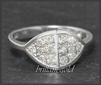 Diamant 585 Gold Ring, 0,50ct Brillanten, 14 Karat Weißgold Damen Cocktailring