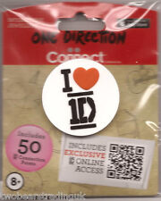 ONE DIRECTION I LOVE (HEART) 1D EMBOSSED RUBBER PIN BADGE (New/Sld)