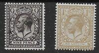 SG393 & 395. 9d.Deep Agate & 1s.Bistre. Fine Fresh Mounted Mint.Cat.£45.Ref:0/62