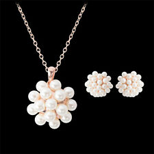Gorgeous Rose Gold Plated Pearl Cluster Necklace & Earring Set