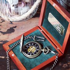 'Antique Brass' Pocket Watch, Personalised Engraved Box, Wedding Groomsmen Gifts