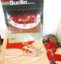 BUCILLA vtg Winter Wonderland Embroidery/Quilted TREE SKIRT KIT Santa+Reindeer
