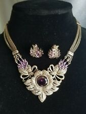 "Vintage Marcasite sterling silver Amethyst statement necklace 16"" earring set"