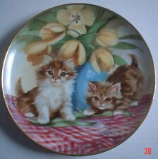 Franklin Mint Collectors Plate TABBIES AND TULIPS Cat Kitten
