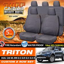 TUFF HD CANVAS Triton ML MN Dual Cab Seat Covers 2ROWs 7/2006-2015 GLR GLX GLX-R