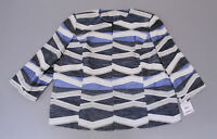 Kasper Women's Plus Jacquard Fly-Away Jacket MC7 Blue Horizon Multi Size 22W NWT