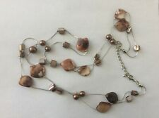 Brown faux pearl, brown shell two strand necklace