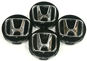 "4 Pcs, Wheel Center Cap, Honda Black H Chrome 58MM / 2.25"" -H2S- Accord Civic"