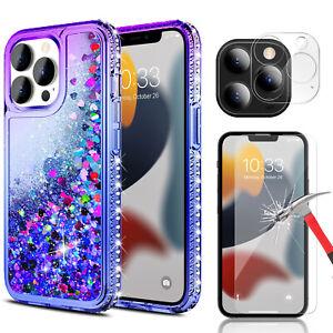 For iPhone 13 Pro Max / 13 Mini Liquid Shiny Bling Case / Lens&Screen Protector