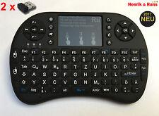 RII i8+ mini radio inalámbrico teclado touchpad Keyboard retroiluminada alemán + 2 xdongle