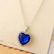 Fashion Silver Love Heart Of The Ocean Sapphire Blue Crystal Necklace Gift